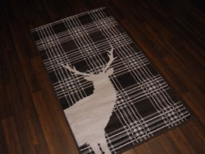 Modern Approx 5x2ft6 80x150cm Woven Top Quality Stag checks Brown/Cream Rugs/Mat